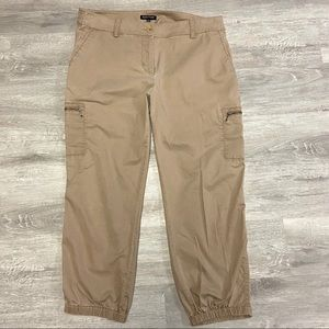 Eileen Fisher Khaki Cropped Cargo Jogger Pants Med